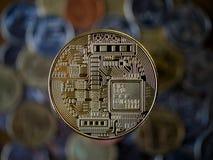 Bitcoin złocista moneta Cryptocurrency pojęcie Obrazy Stock