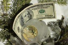 Bitcoin złocista moneta marznąca w połówce w kawałku lód na białym tle z gałąź choinka Nowego roku ` s niespodzianka zdjęcia stock