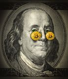 bitcoin złota oczy obrazy stock
