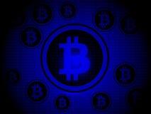Bitcoin z Błękitnym tłem Fotografia Stock