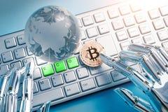 Bitcoin z eco pojęciem Obrazy Royalty Free