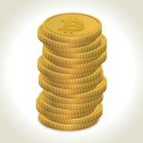 Bitcoin złociste monety Zdjęcie Royalty Free