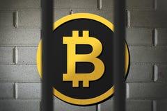 Bitcoin zakazuje i ograniczający prawem Zdjęcie Royalty Free