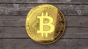 Bitcoin zakończenie up, drewniany stół royalty ilustracja