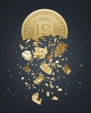 Bitcoin zawalenie się, czarny tło ilustracji