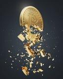 Bitcoin zawalenie się, czarny tło, boczny widok royalty ilustracja