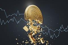 Bitcoin zawalenie się, czarny tło, wykres ilustracji