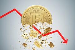 Bitcoin zawalenie się, szary tło, wykres ilustracji