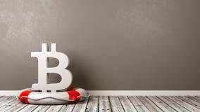 Bitcoin-Zeichen auf einem Rettungsring im Raum Lizenzfreies Stockbild