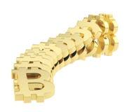 Bitcoin-Zeichen, die als Domino-Effekt fallen Stockbilder