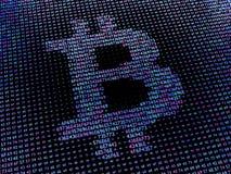 Bitcoin-Zeichen gemacht von der Hexenzahlreihe Stockbilder