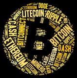 Bitcoin-Zeichen-Wort-Wolke lizenzfreie stockbilder