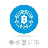 Bitcoin znaka ikona Kryptografii waluty symbol Zdjęcia Stock