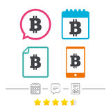 Bitcoin znaka ikona Kryptografii waluty symbol Obraz Stock