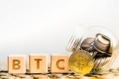 BitcoinBTC Coins and Wood block word BTC.