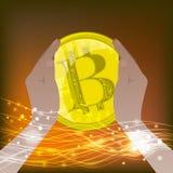 Bitcoinconcept stabiliteit Bitcoin Stock Foto's