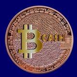 Bitcoincontant geld - nieuw muntstuk na vork stock illustratie