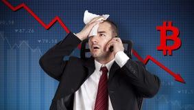 Bitcoincrisis, muntinstorting Royalty-vrije Stock Fotografie