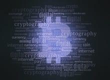 Bitcoincrypto de wolk van het muntwoord Stock Fotografie