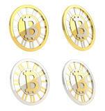 Bitcoincrypto geïsoleerd muntmuntstuk Stock Foto