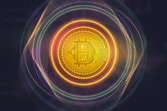 Bitcoincrypto het geldconcepten van het muntteken Stock Foto