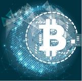 Bitcoincrypto munt blockchain vlak embleem een blauwe achtergrond Blokketen bitcoin sticker voor Web of druk Royalty-vrije Stock Fotografie