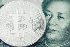 Bitcoincrypto munt, digitaal geld in het gesloten concept van China, stock foto's