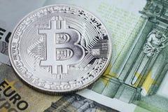 Bitcoincrypto munt, digitaal geld in het gesloten concept van Europa, royalty-vrije stock foto's