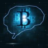 Bitcoincrypto Munt in Menselijke Hersenen Stock Afbeelding