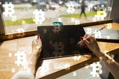 Bitcoincryptocurrency Financiële Technologie Internet-geld Bedrijfs concept Royalty-vrije Stock Foto's