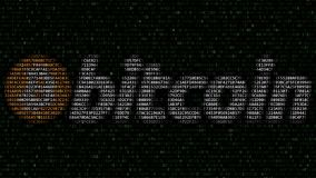 Bitcoinembleem van opvlammende hexadecimale symbolen op het computerscherm dat wordt gemaakt Cryptocurrency bracht het 3D terugge Stock Afbeelding