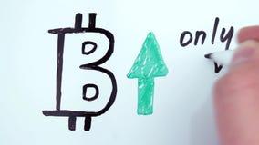 Bitcoinen har uppstiget i pris stock video