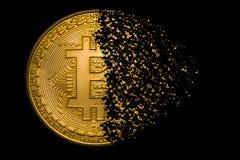 Bitcoinexplosie royalty-vrije stock afbeelding