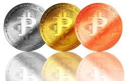 Bitcoingoud, zilver, de geïsoleerde achtergrond Internet van het bronsmuntstuk cryptocurrency Stock Afbeelding