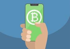 Bitcoinillustratie Hand die moderne vatting-vrij houden Royalty-vrije Stock Afbeeldingen