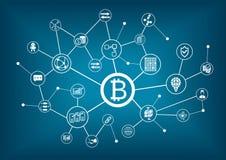 Bitcoinillustratie met donkerblauwe achtergrond Stock Afbeeldingen