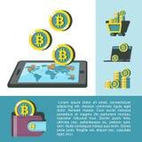 Bitcoinmijnbouw Kaart van omloop van bitcoins Vector illustratie stock illustratie