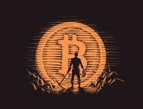 Bitcoinmijnwerker die zich dichtbij groot bitcoinmuntstuk bevinden Vector Stock Foto's