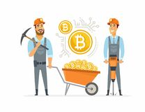 Bitcoinmijnwerkers - de geïsoleerde illustratie van beeldverhaalmensen karakter Stock Afbeeldingen