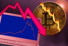 Bitcoinmuntstuk in marktneerstorting is gebarsten met laptop grafiek die royalty-vrije stock afbeeldingen