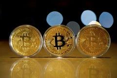 Bitcoinmuntstukken stock afbeeldingen