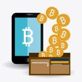 Bitcoinontwerp, vectorillustratie Royalty-vrije Stock Afbeeldingen