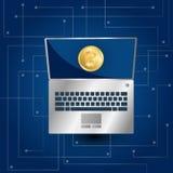 Bitcoinpictogram en laptop op blauwe gradiënt stock illustratie