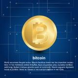 Bitcoinpictogram op blauwe gradiëntachtergrond stock illustratie