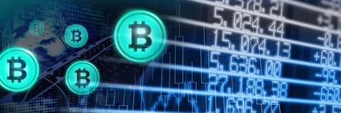 Bitcoinpictogrammen en de economische grafieken van de financiënmarkt vector illustratie