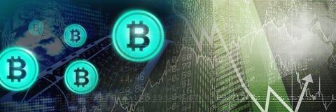 Bitcoinpictogrammen en de economische grafieken van de financiënmarkt in stad stock illustratie
