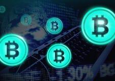 Bitcoinpictogrammen met overgang royalty-vrije illustratie