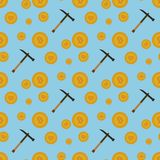 Bitcoins无缝的样式 免版税库存照片