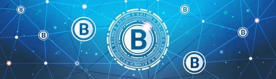 Bitcoins金钱隐藏货币概念现代网付款Techology水平的横幅 图库摄影