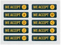 Bitcoins é aceitado aqui Ícones em um estilo liso ilustração stock